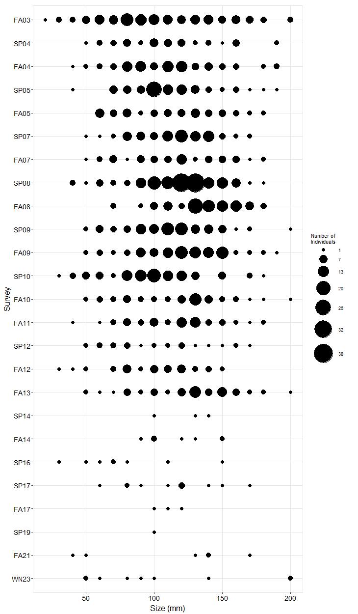 Cuyler Harbor Pisaster size plot