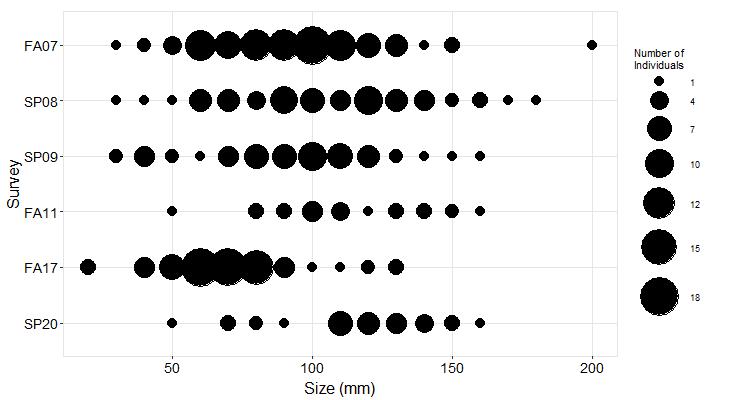 Davenport Landing Pisaster size plot