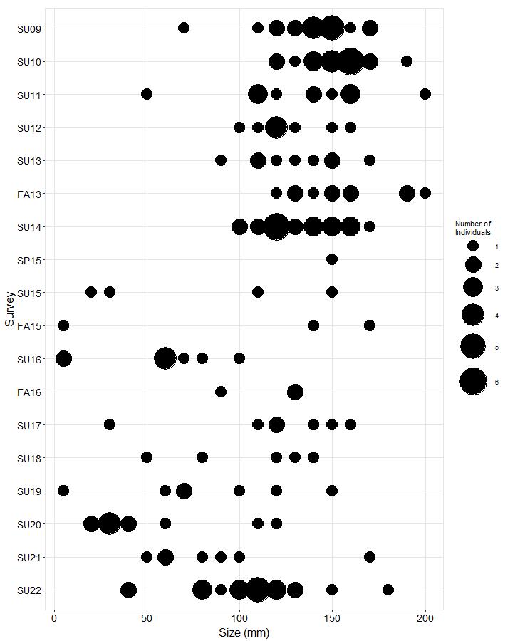 Hat Island West Pisaster size plot