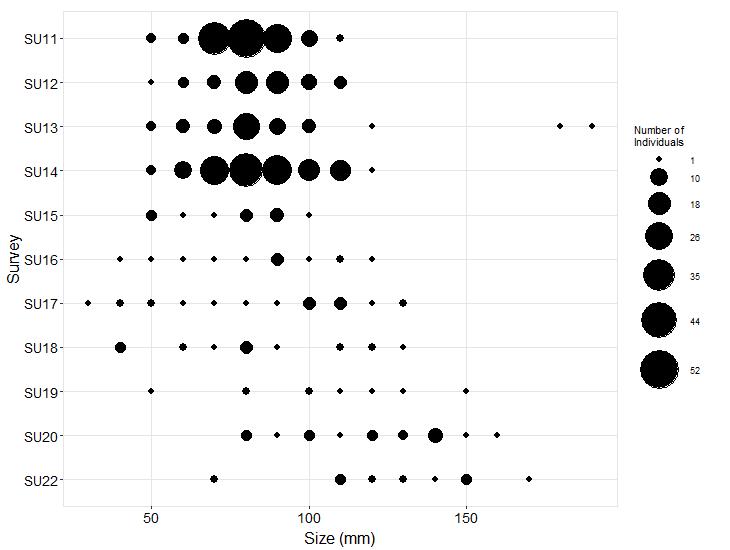 Pirates Cove Pisaster size plot