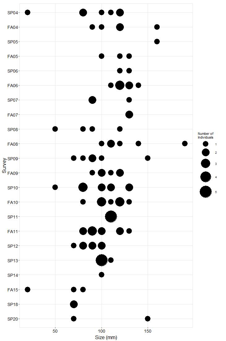 Point Lobos Pisaster size plot