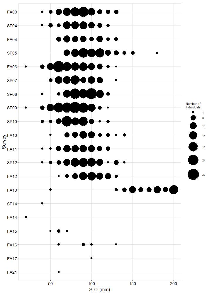 Trailer Pisaster size plot